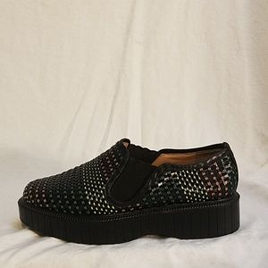 FINAL ROBERT CLERGERIE Woven Leather Pltfrm loafer